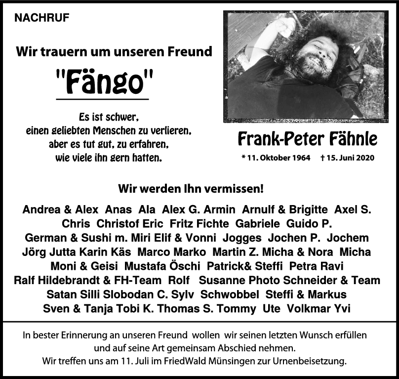 Nachruf Frank-Peter Fähnle <br><p style=