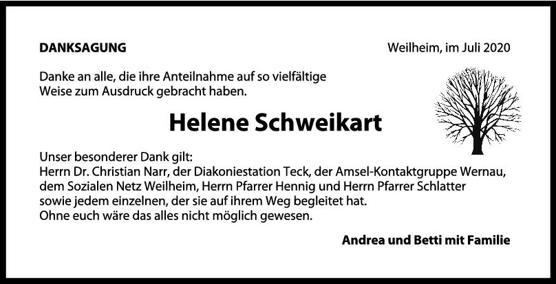 Danksagung Helene Schweikart <br><p style=