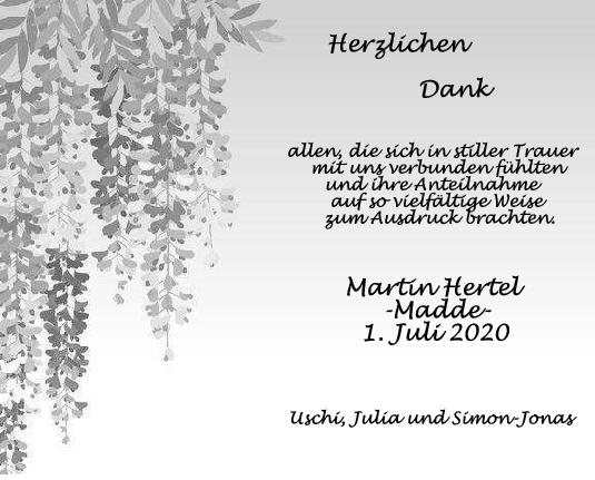 Danksagung Martin Hertel <br><p style=