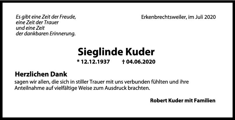 Danksagung Sieglinde Kuder <br><p style=