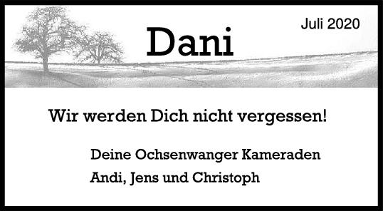 Nachruf Dani <br><p style=