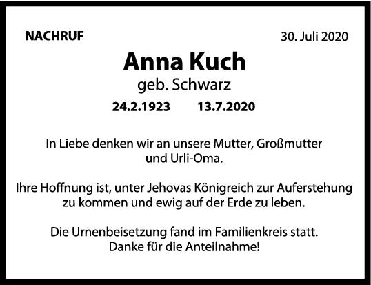 Nachruf Anna Kuch <br><p style=