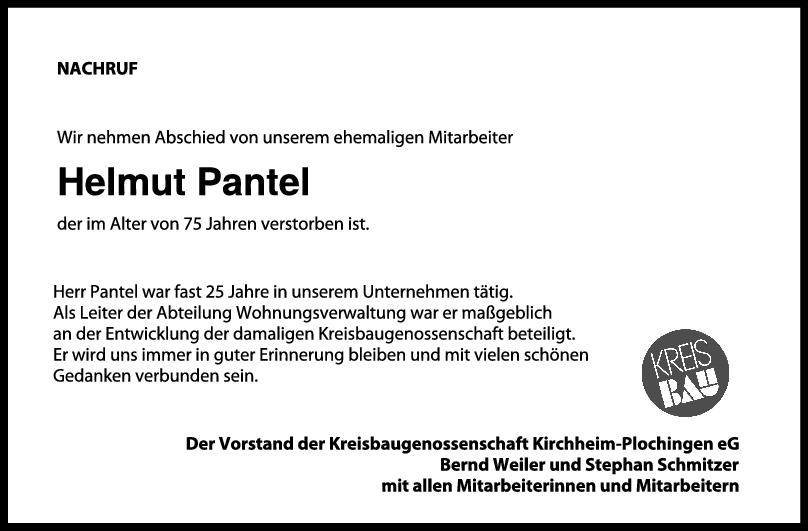 Nachruf Helmut Pantel <br><p style=