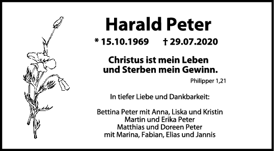 Trauer Harald Peter <br><p style=