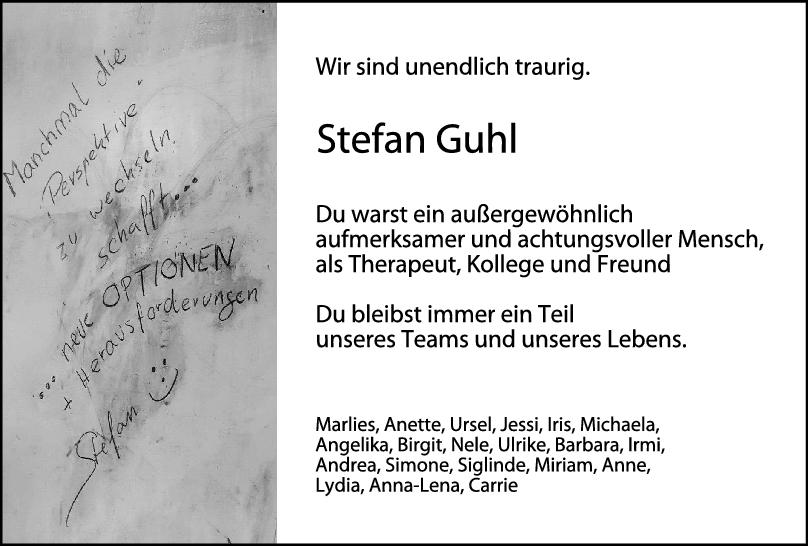 Nachruf Stefan Guhl <br><p style=