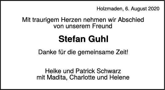 Trauer Stefan Guhl <br><p style=