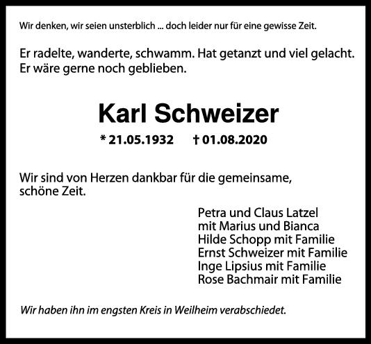 Trauer Karl Schweizer <br><p style=
