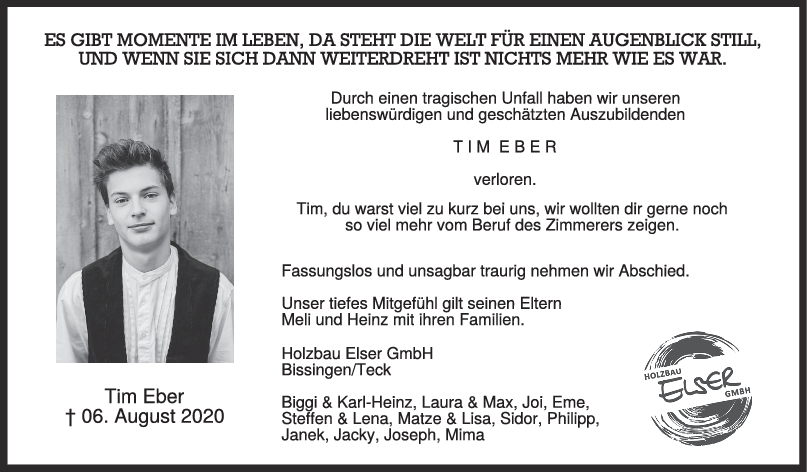 Nachruf Tim Eber <br><p style=