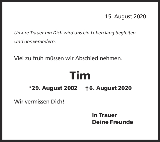 Trauer Tim <br><p style=