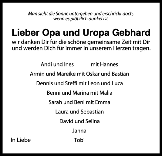 Nachruf Opa/Uropa Gebhard <br><p style=