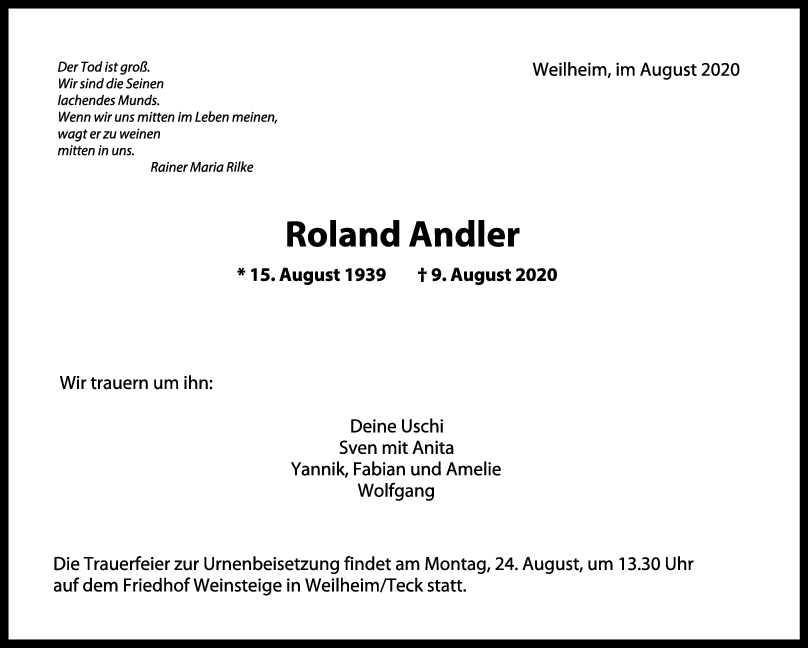 Trauer Roland Andler <br><p style=