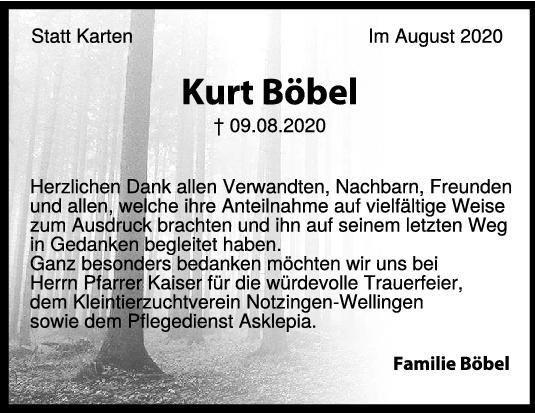 Danksagung Kurt Böbel <br><p style=