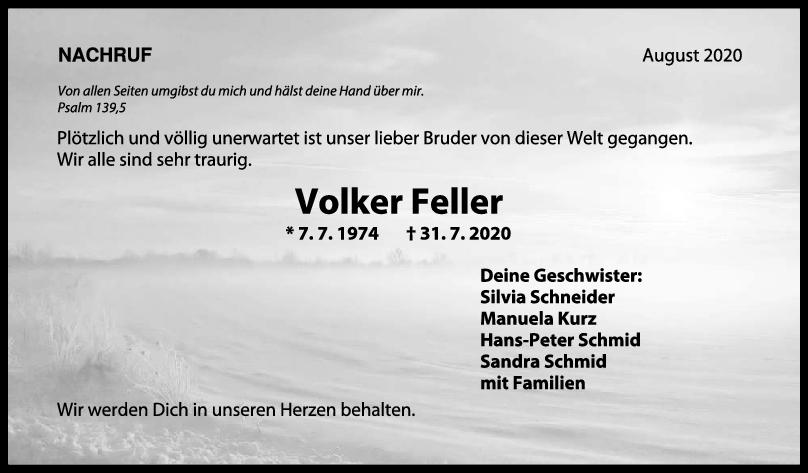 Nachruf Volker Feller <br><p style=