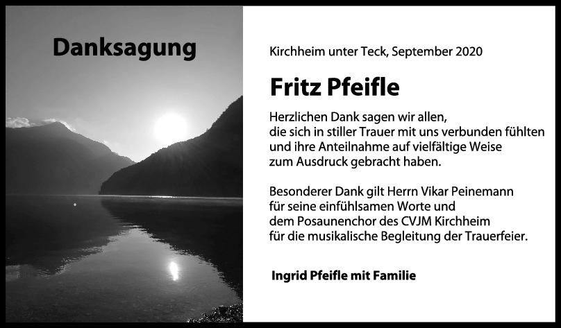 Danksagung Fritz Pfeifle <br><p style=