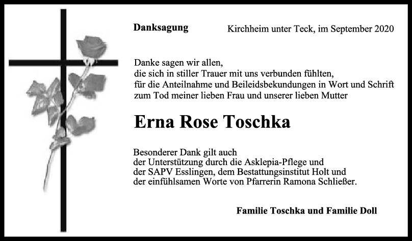 Danksagung Erna Rose Toschka <br><p style=
