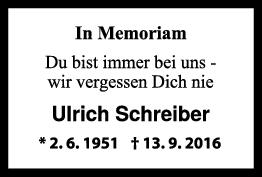 Nachruf Ulrich Schreiber <br><p style=
