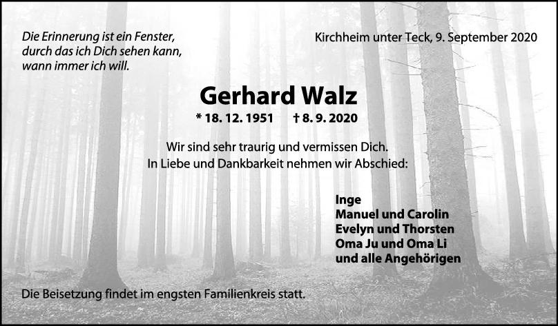 Trauer Gerhard Walz <br><p style=