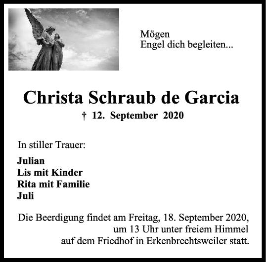 Trauer Christa Schraub de Garcia <br><p style=