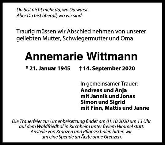 Trauer Annemarie Wittmann <br><p style=
