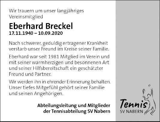 Trauer Eberhard Breckel <br><p style=