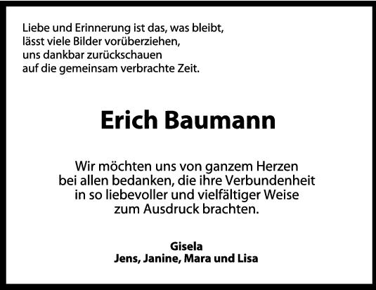 Danksagung Erich Baumann <br><p style=