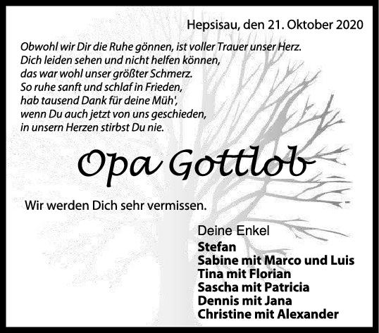 Trauer Opa Gottlob <br><p style=