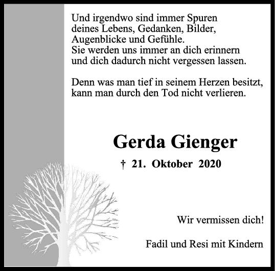 Trauer Gerda Gienger <br><p style=