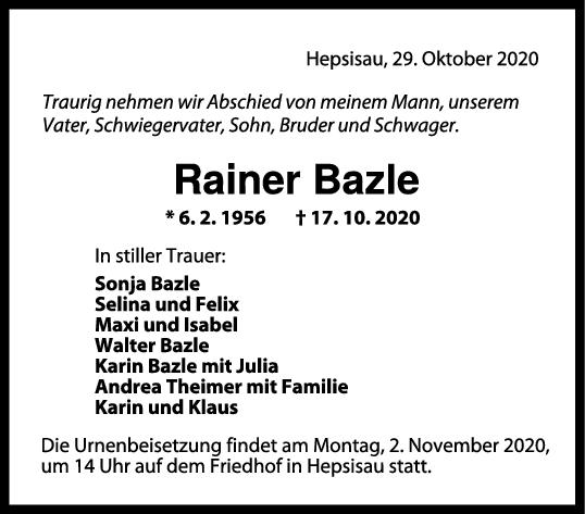 Trauer Rainer Bazle <br><p style=
