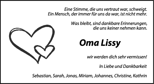 Trauer Lissy Bohnaker<br><p style=