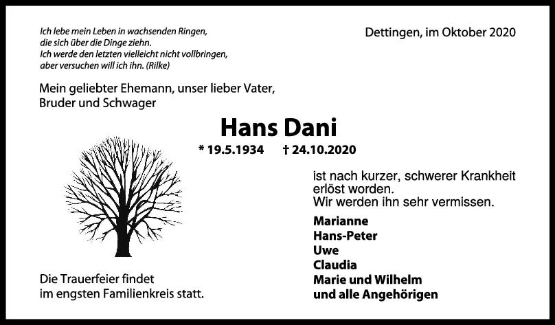Trauer Hans Dani <br><p style=