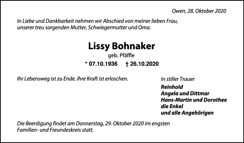Trauer Lissy Bohnaker <br><p style=