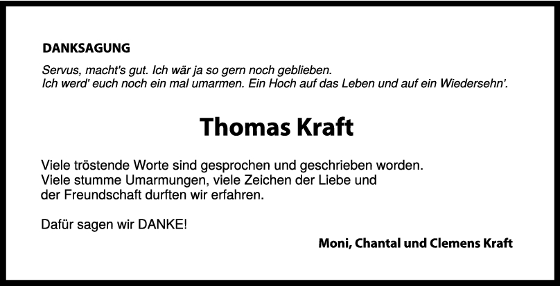 Danksagung Thomas Kraft <br><p style=