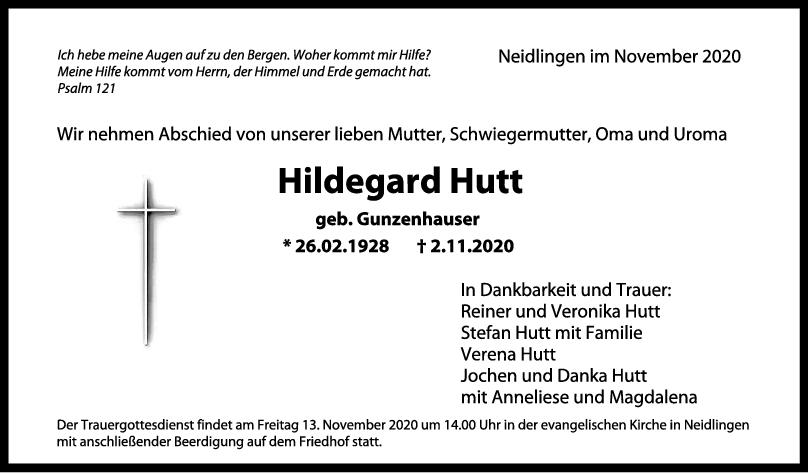 Trauer Hildegard Hutt <br><p style=
