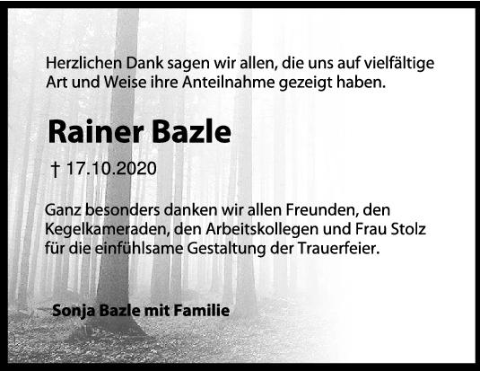 Danksagung Rainer Bazle <br><p style=