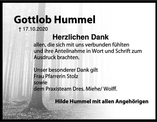 Danksagung Gottlob Hummel <br><p style=