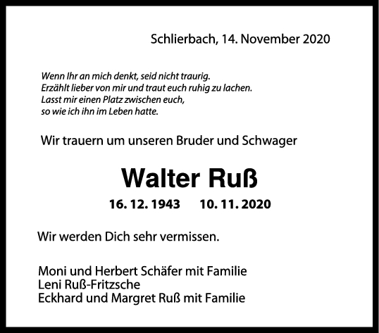 Trauer Walter Ruß <br><p style=