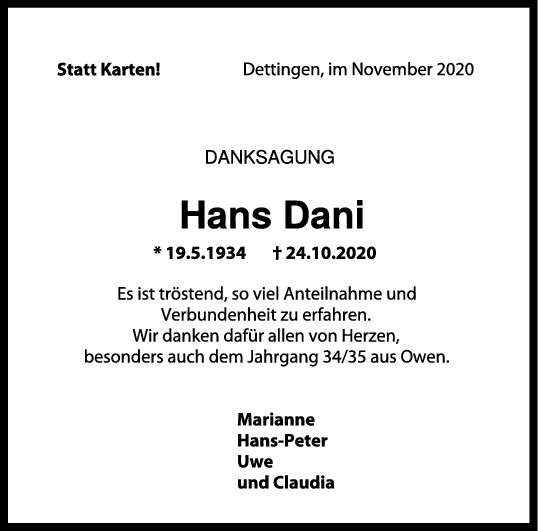 Danksagung Hans Dani <br><p style=