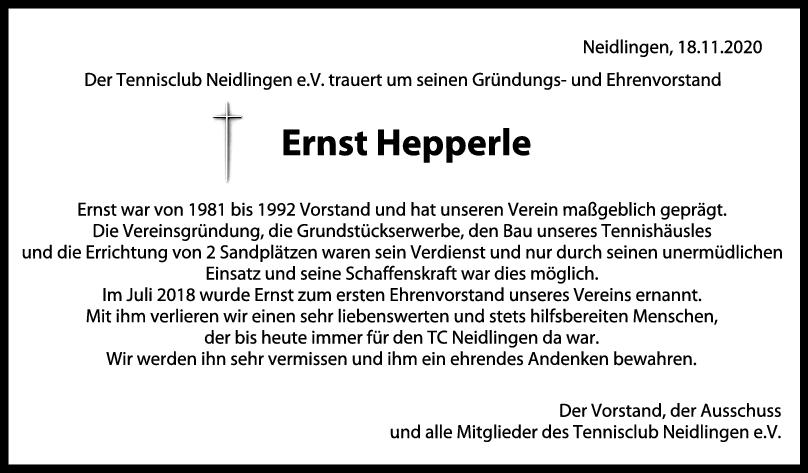 Trauer Ernst Hepperle <br><p style=