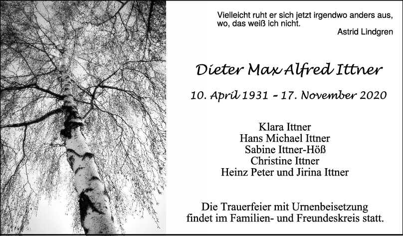Trauer Dieter Max Alfred Ittner <br><p style=