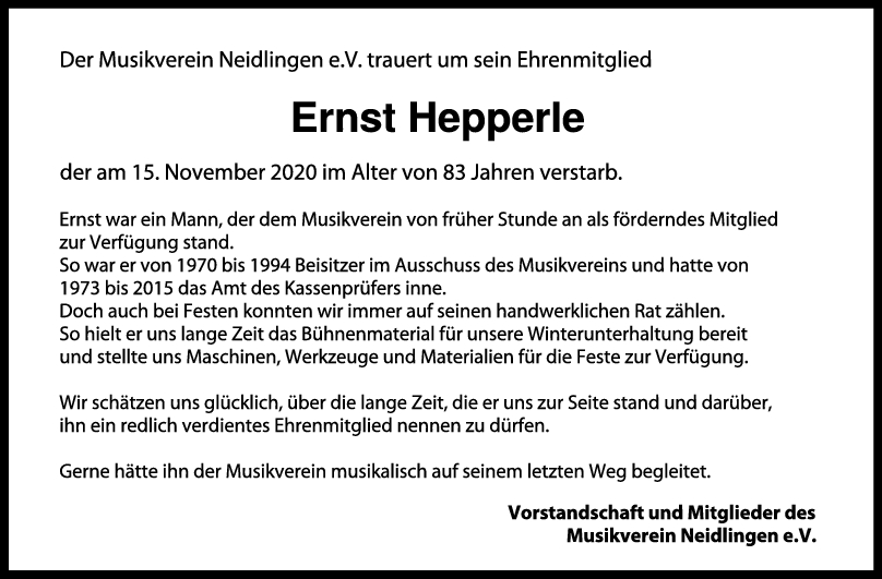 Nachruf Ernst Hepperle <br><p style=