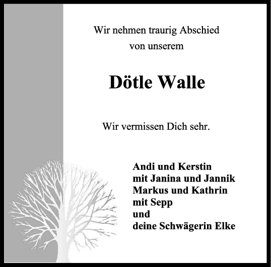 Trauer Dötle Walle <br><p style=