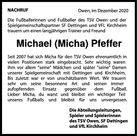 Nachruf Michael (Micha) Pfeffer <br><p style=