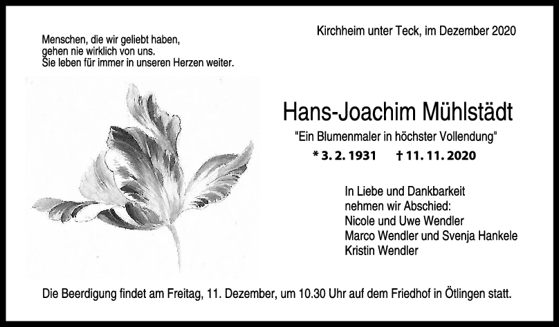 Trauer Hans-Joachim Mühlstädt <br><p style=