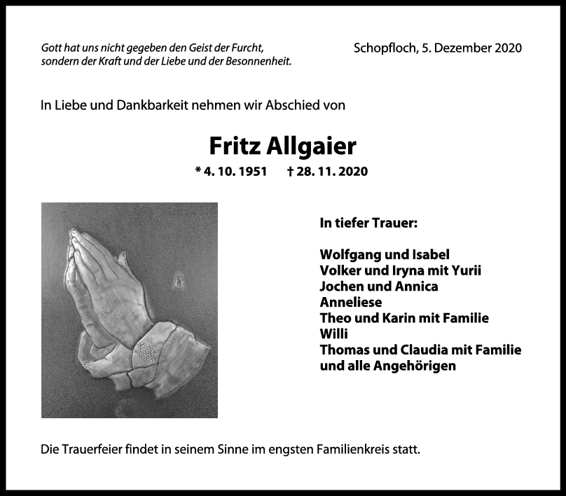 Trauer Fritz Allgaier <br><p style=