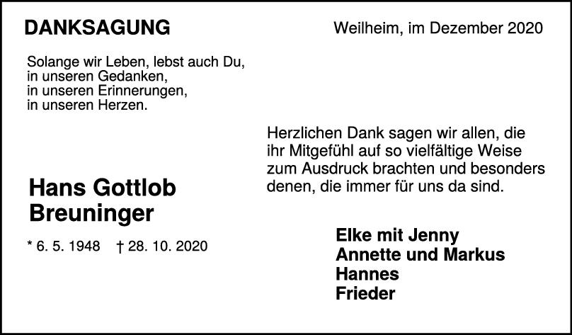 Danksagung Hans Gottlob Breuninger <br><p style=