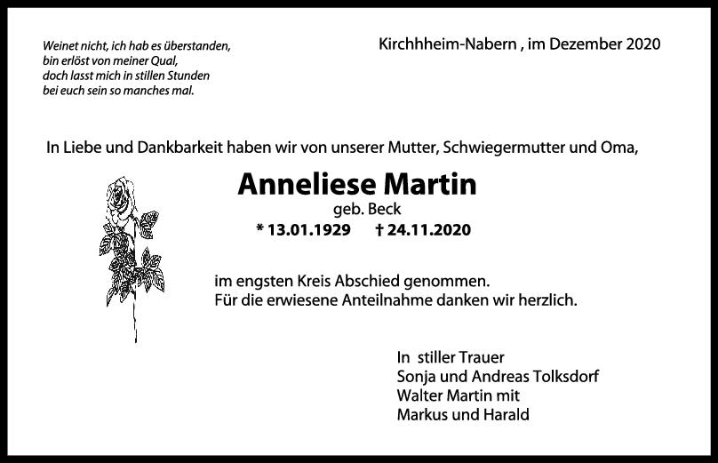 Trauer Anneliese Martin <br><p style=