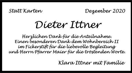 Danksagung Dieter Ittner <br><p style=