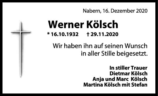 Trauer Werner Kölsch <br><p style=