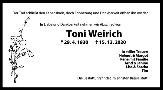 Trauer Toni Weirich <br><p style=
