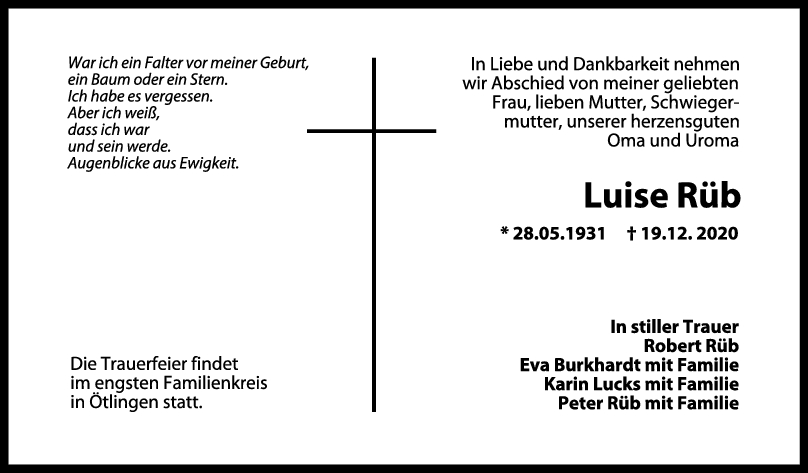 Trauer Luise Rüb <br><p style=